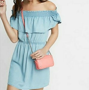 Express Off The Shoulder Chambray Dress